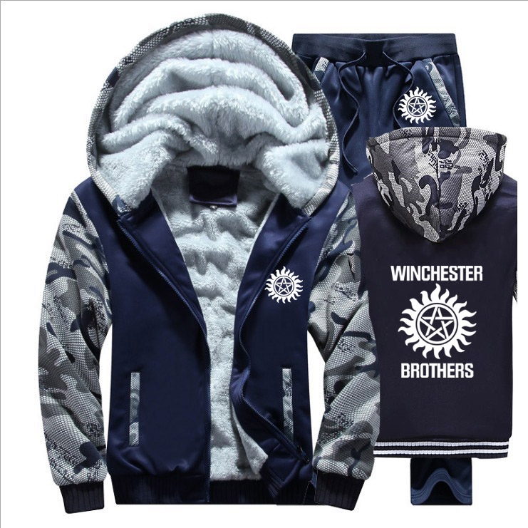 Winter Fleece Thicken Tracksuit Supernatural Winchester Brothers Print Hoodies Men Suit Warm Sweatshirts Jacket+Pants 2Pcs Sets