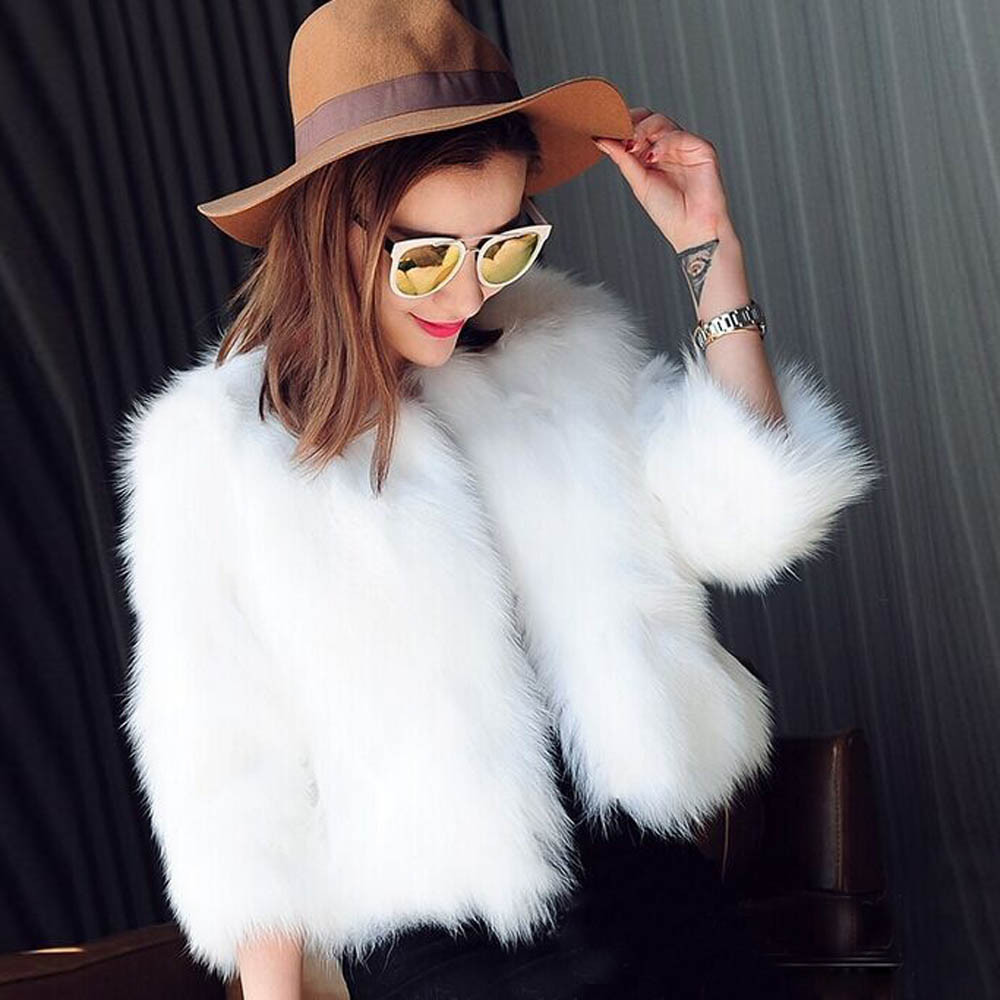 Wedding White Shawl Small Coat 2019 Women 3/4 Sleeve Short Sleeve Black Faux Fur Coat Female Casual Outwear Overcoat Fur Jackets