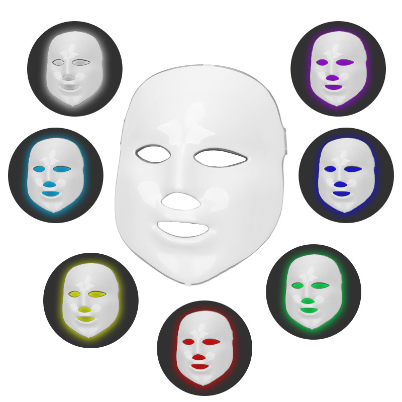 Led Mask Therapie Beauty Photon LED Facial Mask Therapy 7 Colors Light Skin Care Rejuvenation Wrinkle Acne Removal Face Beauty
