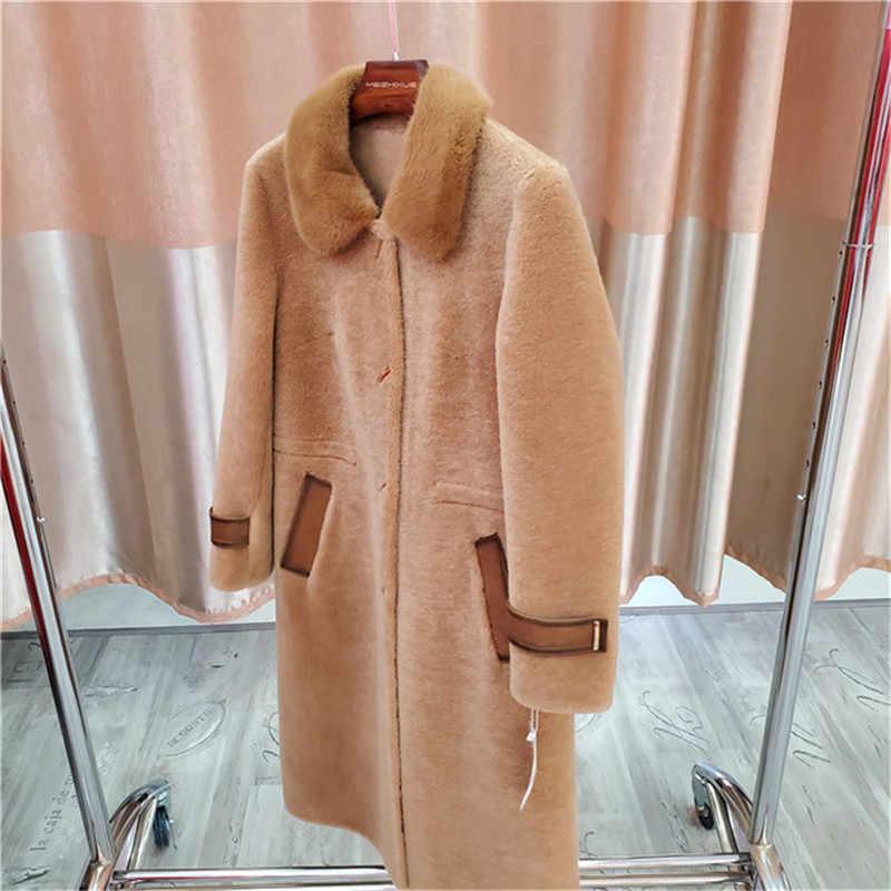 Высококачественная шуба 2019 новая норковая шуба овчина ветровка зимнее теплое пальто куртка средней длины Дамская Шуба Верхняя одежда A992