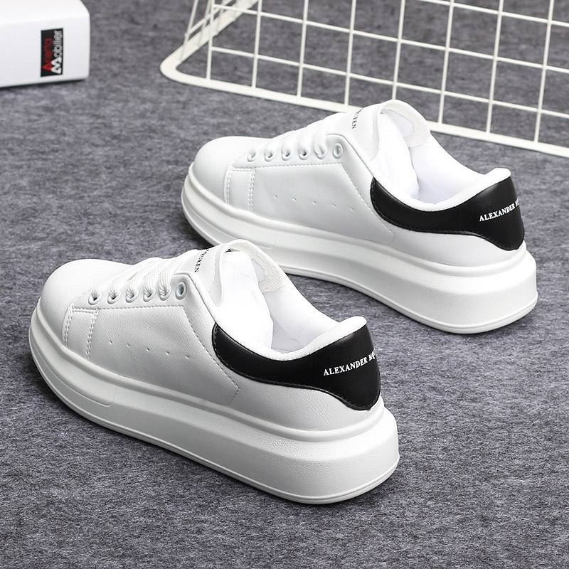Womens Fashion PU Leather Sneaker Soft Shoes White Mens New Low Top Platform Shoes Casual Leisure Zapatos De Hombre Streetwear