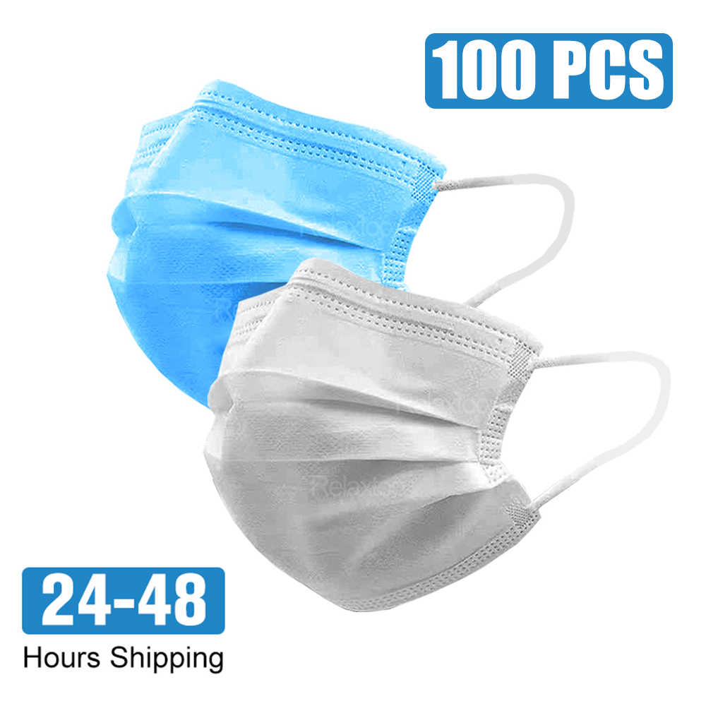 Face Mouth Protective Mask Disposable Protect 3 Layers Filter Dustproof Earloop Non Woven Mouth Masks 48 Hours Shipping