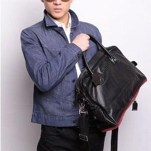 Image 2 - Leather Handbag Shoulder Messenger Bag Laptop Briefcase Leisure Travel Bag Crossbody Men Computer Bags Mens First Layer Cowhide