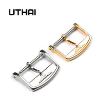 Metal Watch Buckle Brushed Clasp-Accessories Stainless-Steel Silver Black UTHAI T07 12-18mm