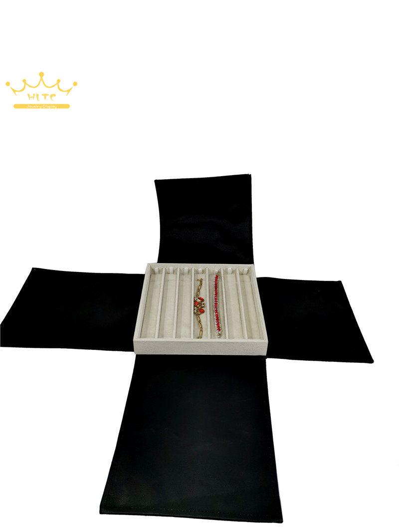 Квадратная форма претензии бархат ювелирных изделий дисплей лоток с Золотой Черная полиуретановая крышка Portabel кольцо держатель для хранен