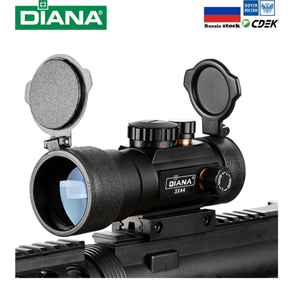 3X44 зеленый красный точечный прицел тактический оптика подходят 11/20 мм рельс прицелы для охоты