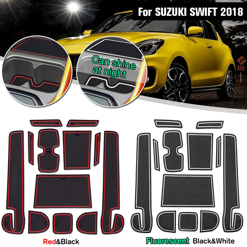 12Pcs Anti-slip Non-slip Car Rubber Decorative Cup Holder Sticker Gate Slot Pad Door Groove Mat For <font><b>SUZUKI</b></font> <font><b>SWIFT</b></font> <font><b>2018</b></font> <font><b>Accessorie</b></font> image
