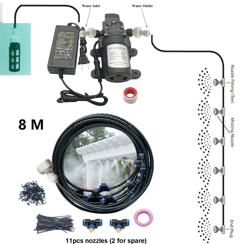 12V Water Spray Electric Diaphragm Pump Kit Portable Fog Water Pump 8M Misting Cooling System Mist Brass Nozzle with Filter|Sprayers| |  - title=
