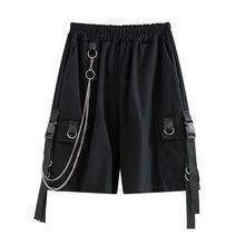 2021 Solid Men's Shorts Summer Mens Beach Shorts Ribbons Black Hip Hop Streetwear Casual Male Sportswear Shorts Homme Clothing