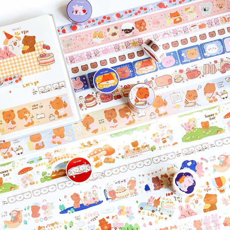 Cute Critical Series Journal Washi Masking Tape Decorative Animal Cake Adhesive Tape DIY Scrapbooking Sticker Label Stationery