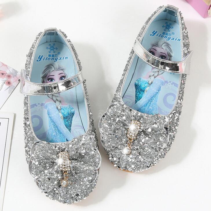 New Princess Elsa Kids Leather Shoes For Girls Bow Casual Glitter Children Girls Shoes Butterfly Knot Soft Cartoon Sneakers