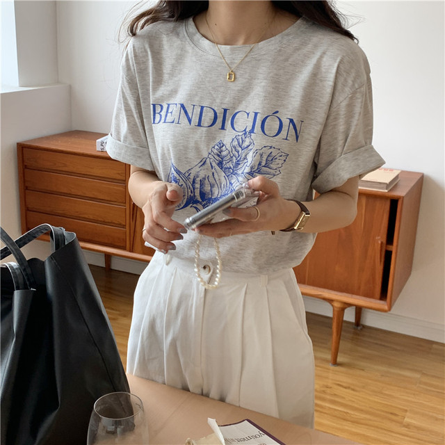 Korean Style Causal Vintage Gray Letters Printed Loose Simple Short Sleeve Women Top 2021 Summer New T-shirts 1