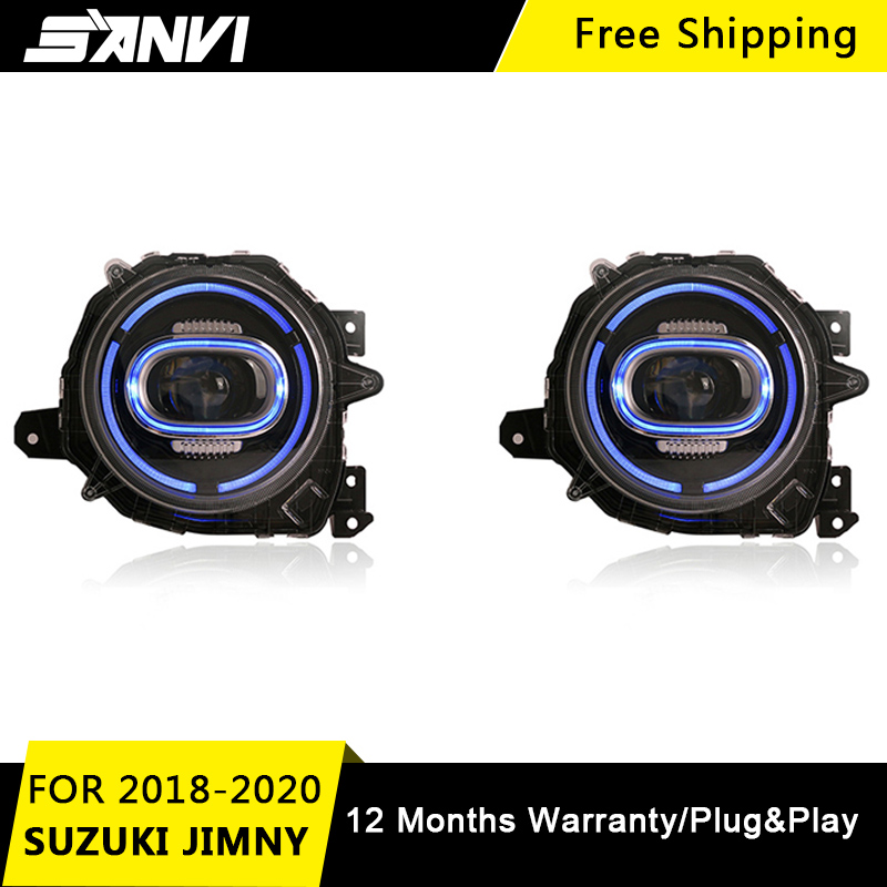SANVI 2Pcs Headlight Assembly For SUZUKI JIMNY 2018  20219 2020 With LED DRL LED Turn Light