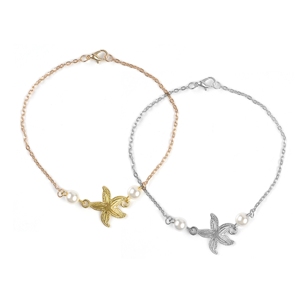 2020 Bohemian Sandals Foot Jewelry Charms Chain Ankle Bracelet Female gold starfish Anklets Bracelets for Women Barefoot 1