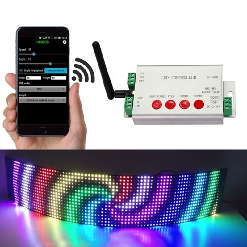 DC5V 24V LED דיגיטלי WIFI DMX512 בקר 2048 פיקסל RGB Controler WIFI לתכנות בקר נשלט על ידי APP