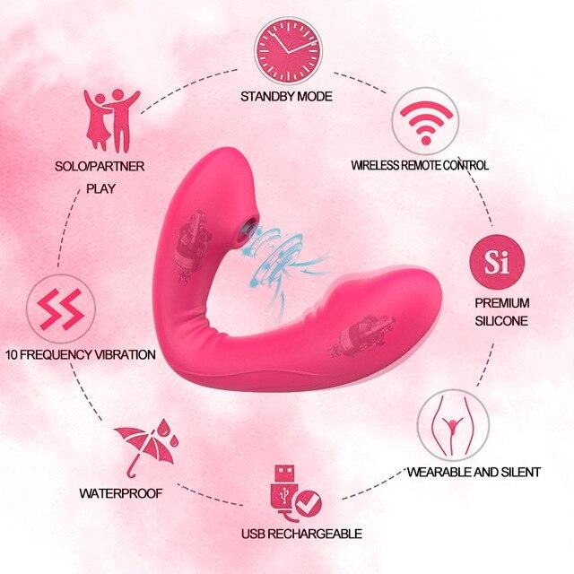 Wireless 10 Geschwindigkeit Saugen Vibrator mit Fernbedienung Klitoris Stimulator 2