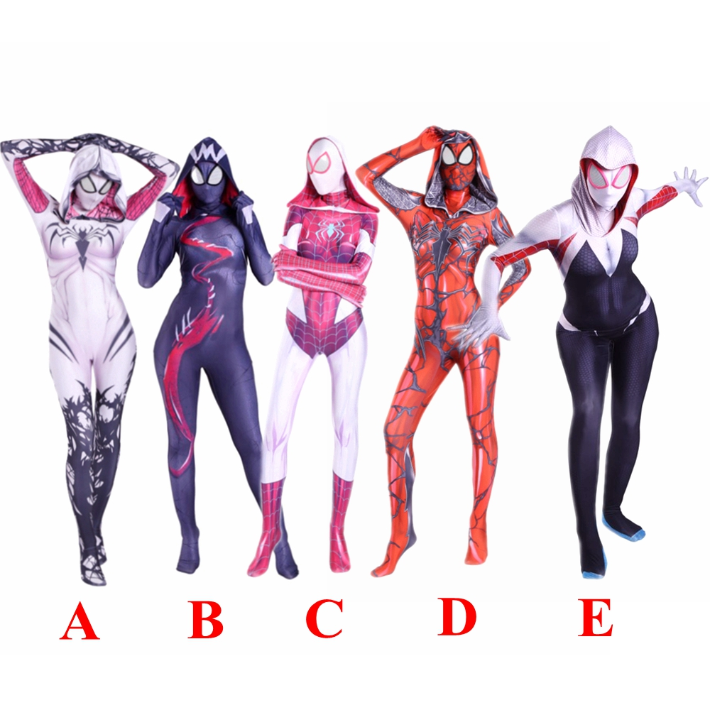 Gwen Stacy Costume venin femme Spiderman capuche cosplay masque Spider filles femmes Lycra Zentai Costume super-héros body combinaison