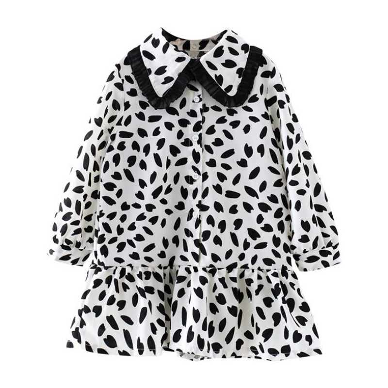 Korean Girls Dresses 2019 New Autumn Kids Girl Full Sleeve Peter Pan Collar Shirt Chiffon Dress For 2-8Yrs Toddler Clothes