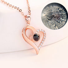 Necklace for Women 100 Languages I Love You Valentine's Day Present Memory Projection Necklace Silver,Rose gold drop ship z0731(China)
