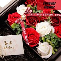 Soap Flower Mother's Day Gift Artificial Flower Small Square Box Flower Bouquet Rose Flower