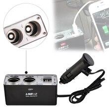 цена на Car Accessories Cigarette Lighter Splitter Adapter 12/24V Multi Socket Triple Splitter Dual Sockets Dual USB Car Charger Adapter