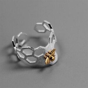 Image 2 - INATURE 925 ayar gümüş petek arı açık yüzükler kadınlar için parti takı hediye