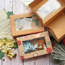 22*15*7cm 10pcs Kraft Paper Bright Red Merry Christmas Snowman Design Box Candle Jam Bake DIY Party Favors Gifts Packaging