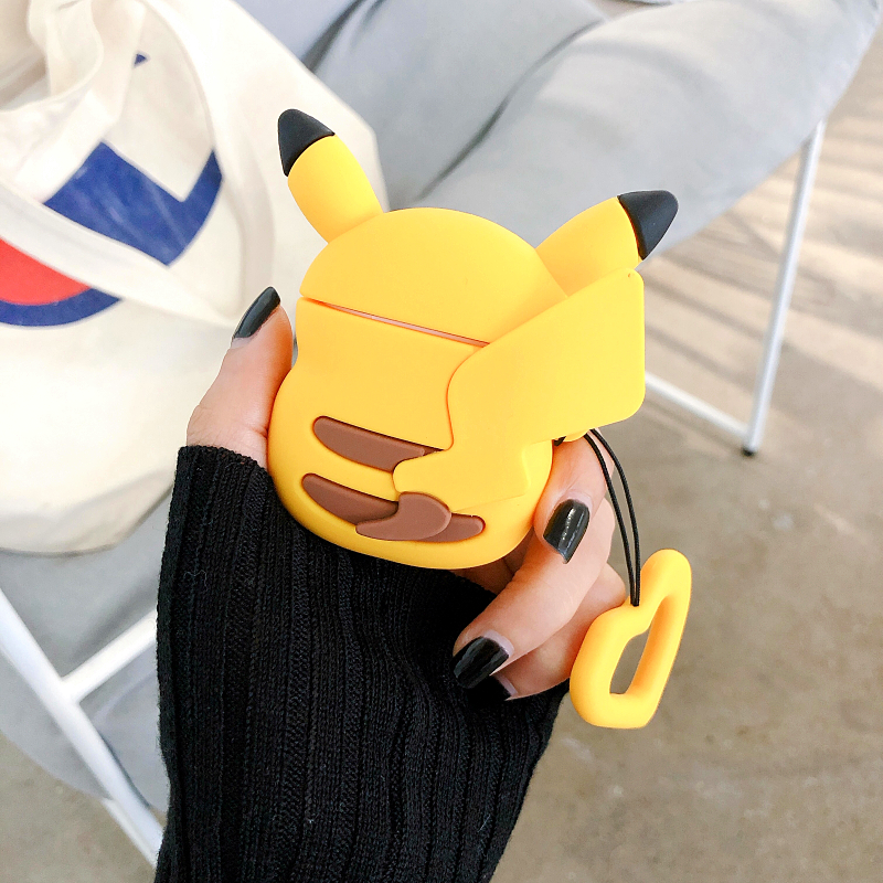 Air pods 2 Cartoon Pokemon Cute Pikachu Back view earphone Cover For Apple Bluetooth Headset Airpods 1 2 Silicone Cases Funda-in Earphone Accessories from Consumer Electronics