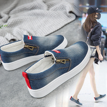 2019 New Spring Autumn Flat Shoes For Women Denim Flat Platform Classic Fashion Flat Casual Shoes Sneakers Zapatos De Mujer cheap Bigsweety Basic CN(Origin) Canvas Rubber Slip-On Fits true to size take your normal size zipper Spring Autumn Solid Round Toe
