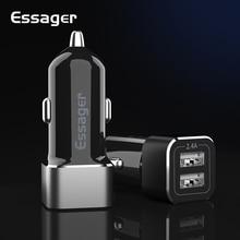 Автомобильное зарядное устройство Essager USB для iPhone Xiaomi Redmi Note 8 Pro, двойной USB адаптер для зарядки мобильного телефона, автомобильное зарядное устройство 2.4A