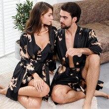5XL 4XL Двухсекционный набор больших мужских ночных рубашек больших размеров и набор женских ночных халатов, парные ночные рубашки, кимоно, мужской сексуальный халат, шелковый халат