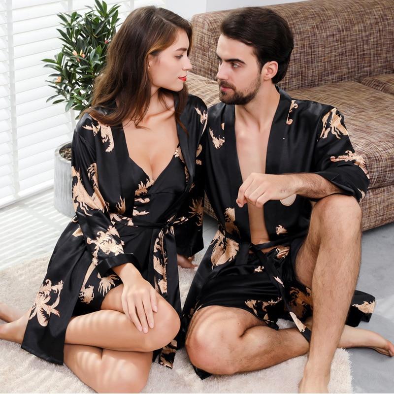 5XL 4XL Two-piece Oversize Men's Nightgowns Set & Women's Night Gown Set Couple's Nightgowns Kimono Men Sexy Robe Silk Bathrobe