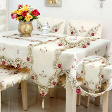 Countryside Style Embroidered Table Cloth Waterproof Oilproof Dustproof Cover Lace Hollow Hem Rectangle Tablecloth Tapetes