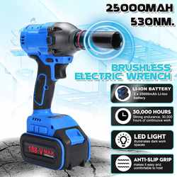 530Nm 25000mah 1/2'' Cordless Impact Wrench Power Driver Electric Wrench Socket Hand Drill Installation Power Tools