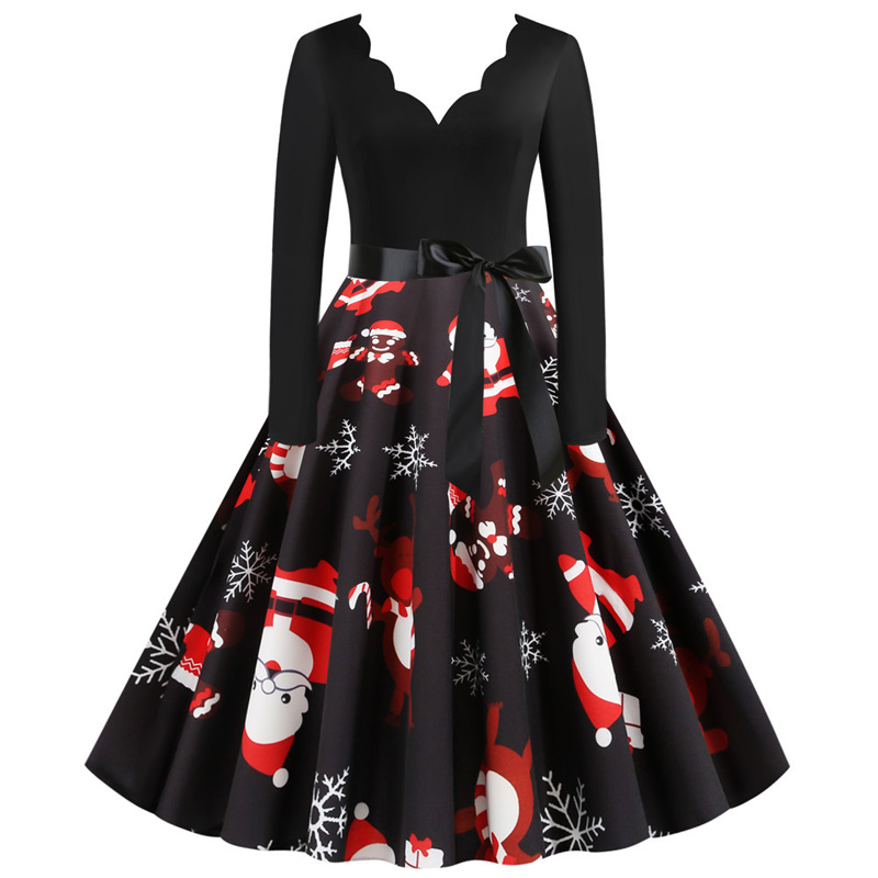 Black Swing Santa Print Vintage Christmas Dress Women Winter Long Sleeve Deep V Neck Sexy New Year Party Dress Plus Size S~3XL