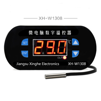 XH-W1308 W1308 AC 220V Adjustable Digital Cool Heat Sensor Red Display Temperature Controller Thermostat Switch DC 12V 24V taidacent ntc waterproof temperature controller w1209s digital dual display 12 volt thermostat switch digital thermostat module