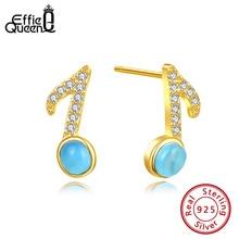 Effie Queen Genuine 925 Sterling Silver AAAA Zircon Stud Earrings Musical Note For Women Girls  Jewelry Party BE175