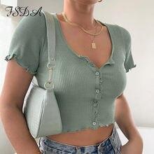 FSDA V-ausschnitt Rüschen Kurzarm T Hemd Frauen Sommer Casual-Taste Crop Top Grundlegende Blau Rosa T Shirt Tops