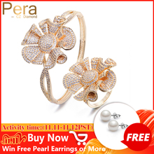 Pera Luxury Yellow Gold Color Full Shinning Cubic Zirconia Big Flower Shape Bangle and Ring Women Engagement Party Jewelry Z031