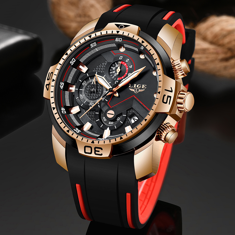 New Relogio Masculino 2019 LIGE Silicone Mens Watches Top Brand Luxury Man Military Quartz Clock Male Sport Waterproof Watch Men