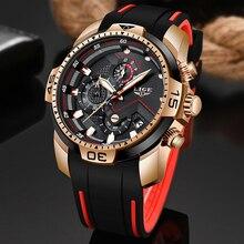 Nowy Relogio Masculino 2019 LIGE silikonowe męskie zegarki Top marka luksusowy człowiek wojskowy zegar kwarcowy mężczyzna Sport wodoodporny zegarek mężczyzn