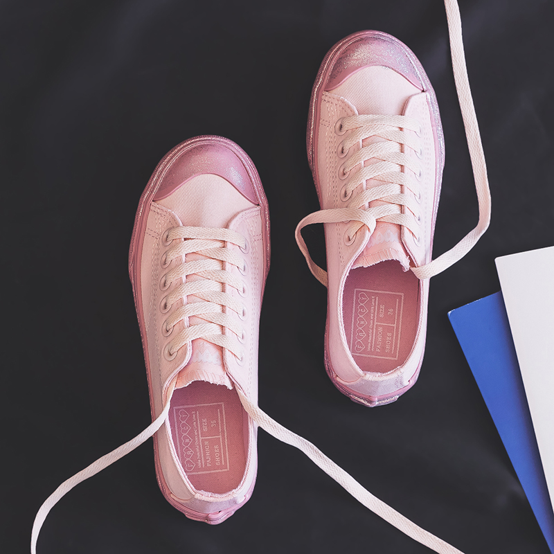 Canvas Fashion Shoes Woman 2019 Summer New Fashion Pink Color Bling Women Casual Shoes Flats Canvas Women Casual Shoes Sneakers