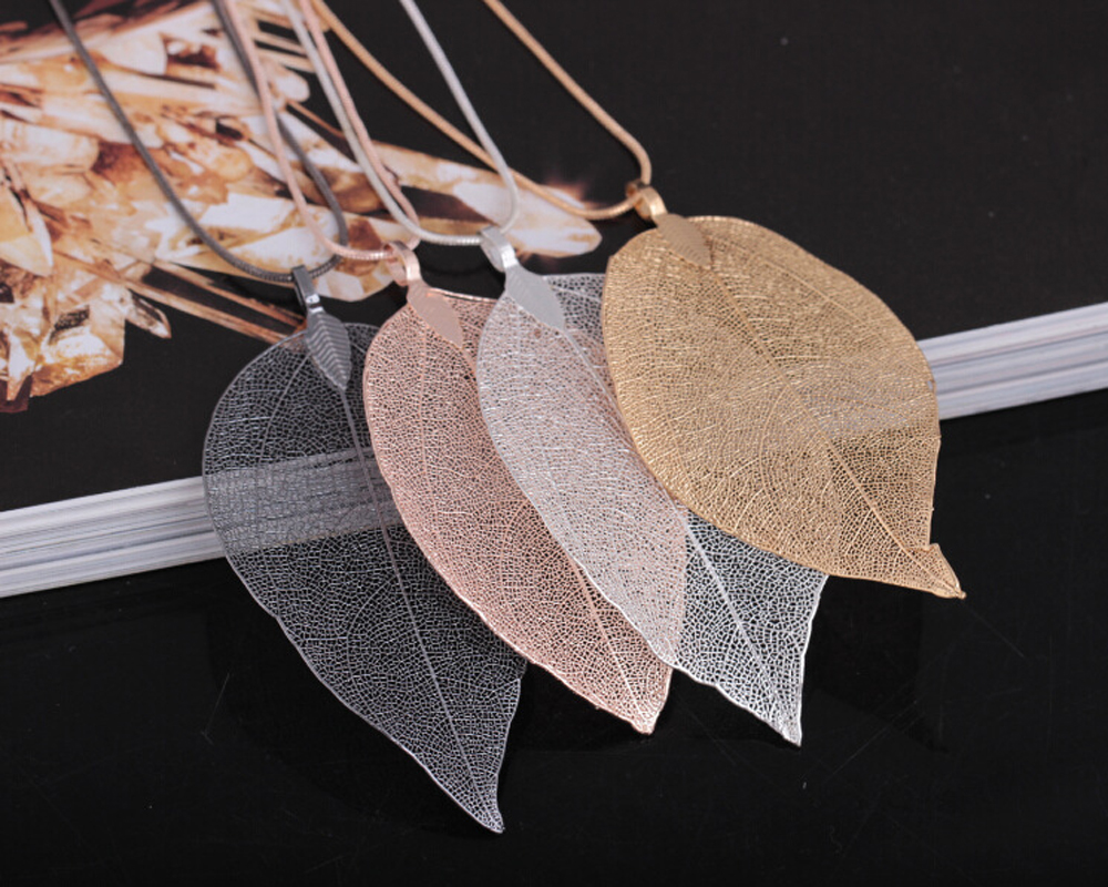 Ha436c2dd922f456daf15850c21f0f623H - Fashion Jewelry Maxi Necklace Rose Gold Color Chain Real Leaf Charm Design Pendant Necklaces & Pendants Women collier femme Gift