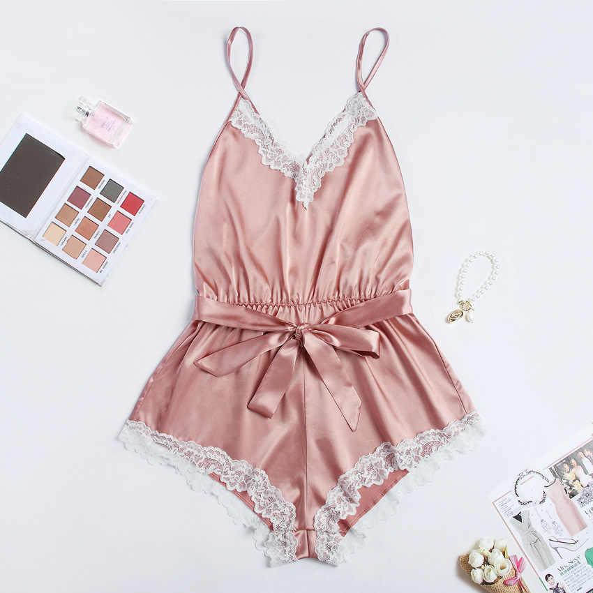 Sexy romper eleganckie body satynowa piżama pas playsuit casual wakacje body mujer kombinezony wygodne koszula nocna