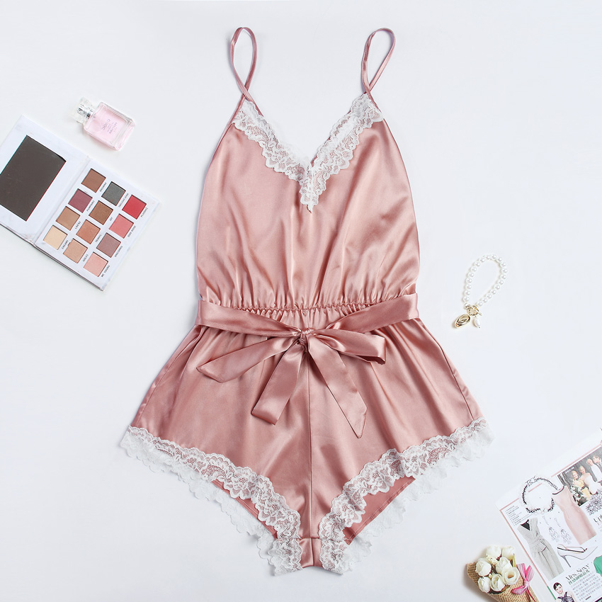Sexy Elegant Bodysuits Satin Pajamas Belt Playsuit Casual Romper Holiday Body Mujer Jumpsuits Comfy Nightdress