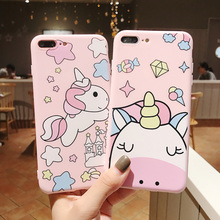 Simple Candy Color Soft Phone Case for iPhone X Xs Max Xr 7 8 6s Plus 3D Cute Cartoon Unicorn Summer Pink Coffee TPU Waterproof