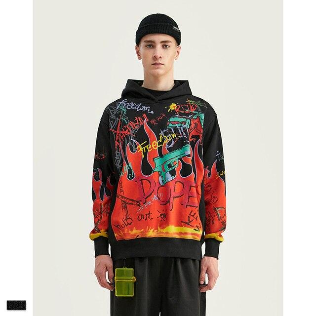 Cooo Coll Men women Hoodies freedom hip hop loose justin bieber printing flame Graffiti skateboard black sweatshirt tops hoody