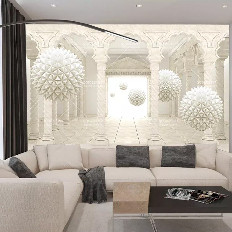 Customizable Roman Modern 3D Architecture Extension Space Mural Living Room Sofa TV Background Wallpaper