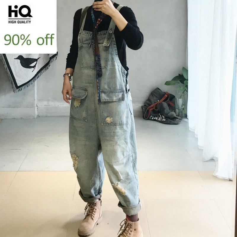 Vintage Loose Denim Jumpsuits Women Autumn Winter Ripped Hole Pocket Cowgirl Overalls Streetwear Casual Trousers Female M L