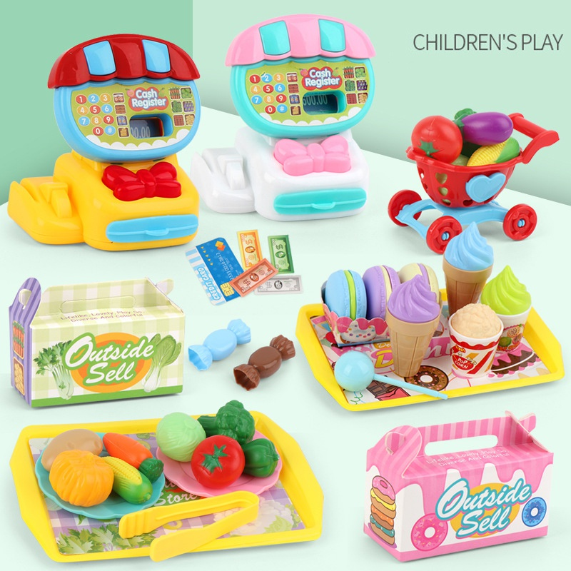 Kids Cash Register Toy Pretend Play Set Food Shopping Educational Toys Baby Simulation Supermarket Children Classic Toy